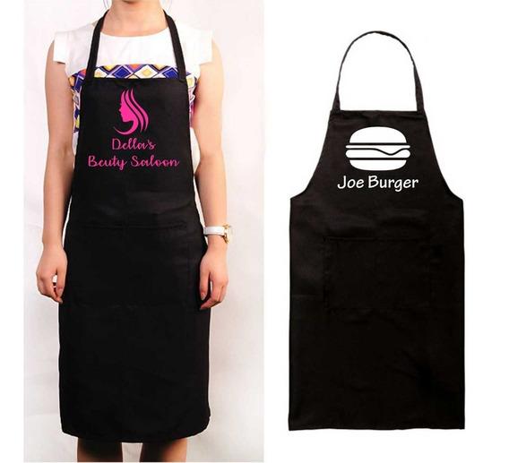 Avental Personalizado Estampado Com Bolso Bar Cozinha Restaurante Barbeiro Churrasco Salão Unisex