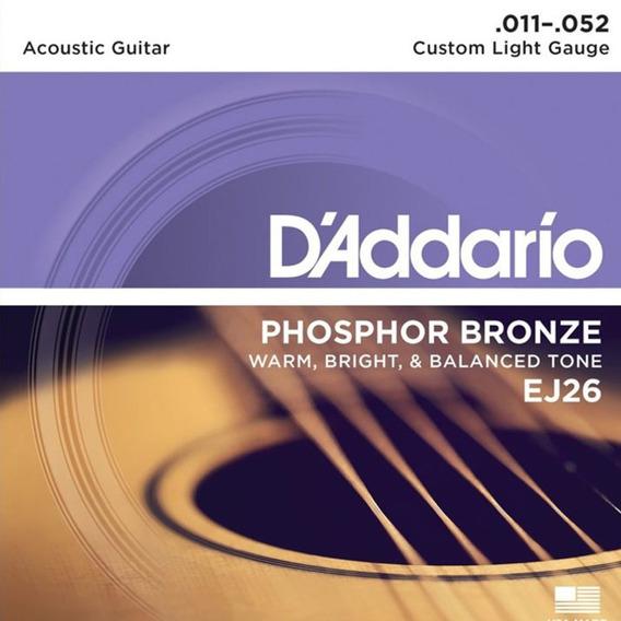 Encordoamento Violão Aço Daddario .011 Phosphor Bronze Ej26
