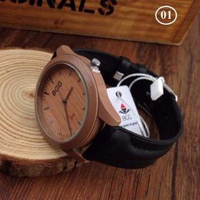 Relógio Feminino Bgg Caixa Imitação Madeira Pulseira Couro