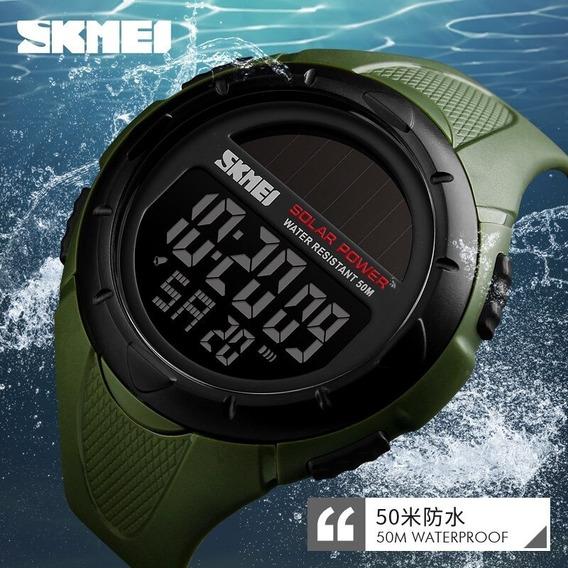 Relógio Skmei A Energia Solar Militar Esportivo + Caixa Lata
