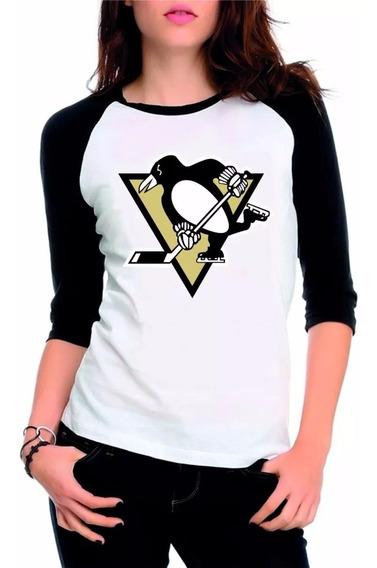 Camiseta Raglan Pittsburgh Penguins Manga 3/4 Feminina