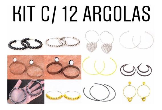 Kit Com 12 Brincos Argolas - Kt06 // R$3,80 Cada Brinco