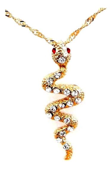 Gargantilha Serpente C/ Strass Dourada - Sh5665