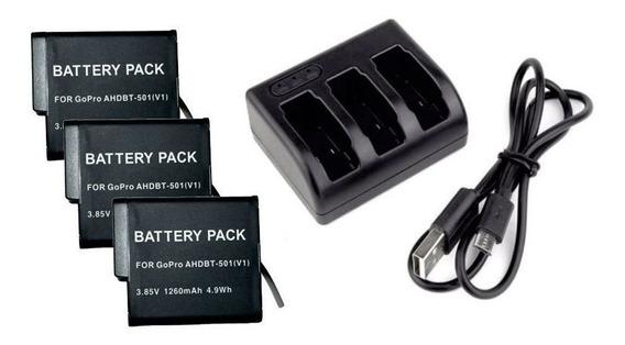 3 Baterias Ahdbt-501 Para Gopro Hero 5 + Carregador Triplo
