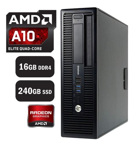 Imagen 1 de 5 de Pc Computadora Gamer Hp Amd Quad Core 16gb 240gb Ssd Radeon