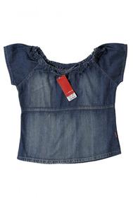 Blusa Camisa Juvenil Ciganinha Jeans Gola Redonda Evangélica