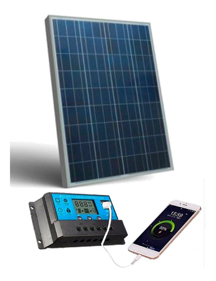 Kit Placa Painel Solar 50w Inversor Controlador 220v 2000w