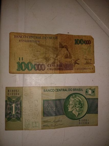 Notas De 100 Mil Cruzeiros E De 1 Crizeiro