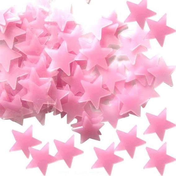 Kit 100 Estrela Fluorescente Adesivo Decoração Teto Rosa