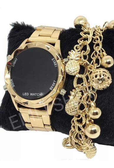 Relógio Feminino Digital Ou Analógico + Pulseira + Caixa S2.