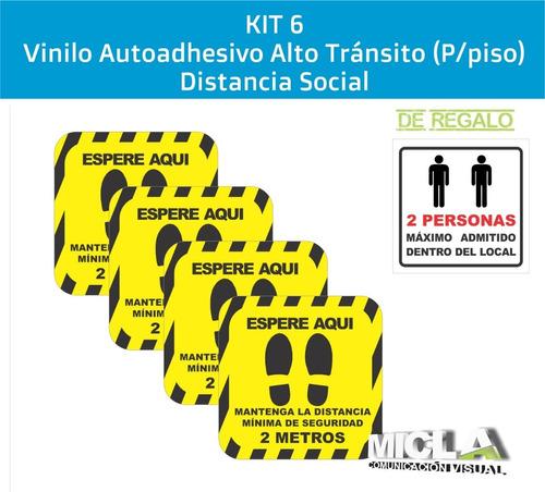 Ploteo P/piso Distanciamiento Social / Kit6 +calco De Regalo