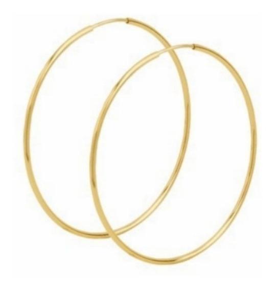 Brinco De Ouro 18k 750 Feminino Argola Grande 4cm