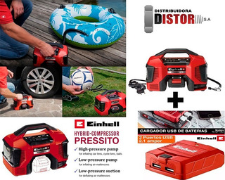 Mini Compresor Portatil Einhell Bateria 18v220v Hibrido+ Usb