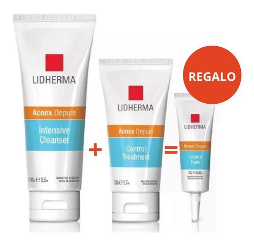 Imagen 1 de 10 de Lidherma Kit Acnex Gel De Limpieza + Hidratante Piel Grasa