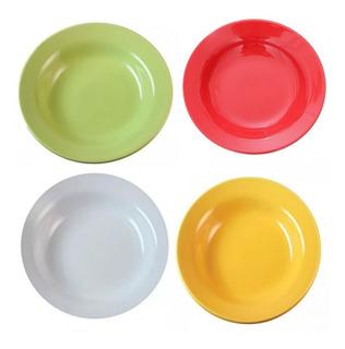 Plato Hondo Redondo Cerámica Biona Colores Blanco Verde Amarillo Platos Hondos Por Unidad Apto Microondas - 22cm