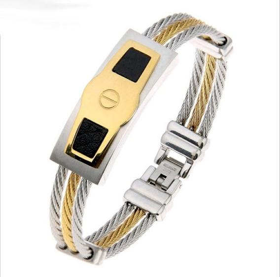 Bracelete Masculina Aço Inoxidável Banhada Ouro