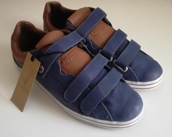 Zapatillas De Cuero Azul Y Abrojos Velcro - Juhano