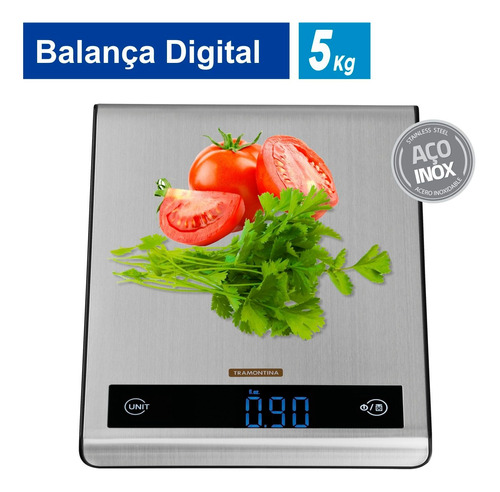 Imagem 1 de 10 de Balança Digital Para Cozinha Tramontina Utility Inox 5 Kg