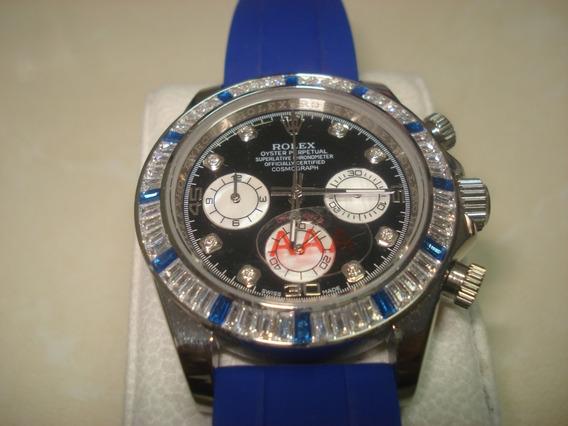 Reloj Nuevo Rolex Daytona Azúl Caballero Swarovscky Caucho