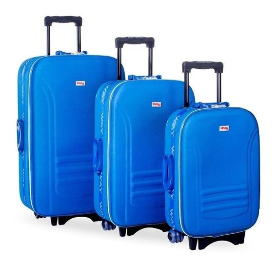 Kit Jogo Mala De Viagem Resistente Importway Ll1013 Azul