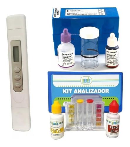 Imagen 1 de 1 de Kit Analizador Cloro Y Ph+ Analizador De Dureza+ Medidor Tds