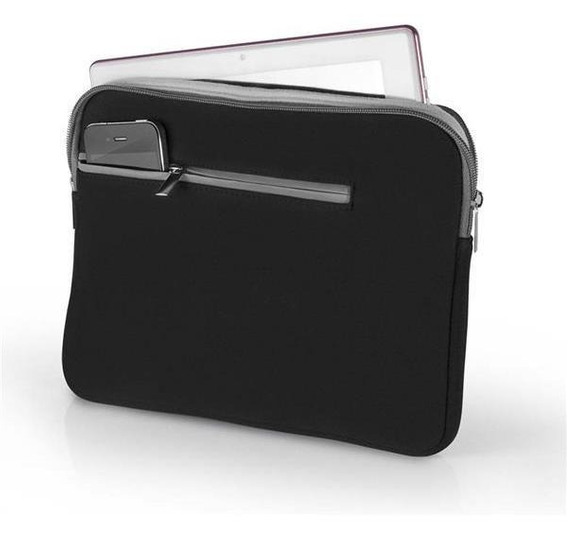Case Capa Neoprene Para Notebook Até 14 Pol Preta E Cinza