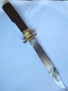 Cuchillo Plegable, Antiguo Con Funda De Cuero