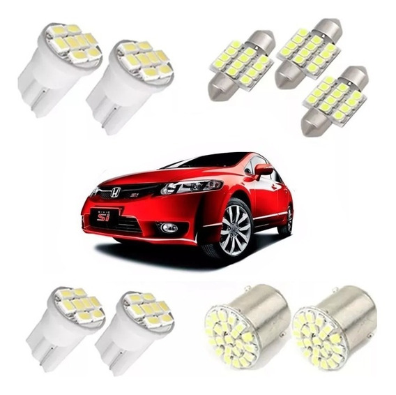 Kit Lampadas Led New Civic 2006/2011 Teto Placa Ré Farolete