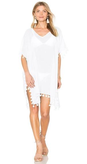 Vestido Pareo Playa Con Motitas 3 Colores Blanco Rosa Salmon