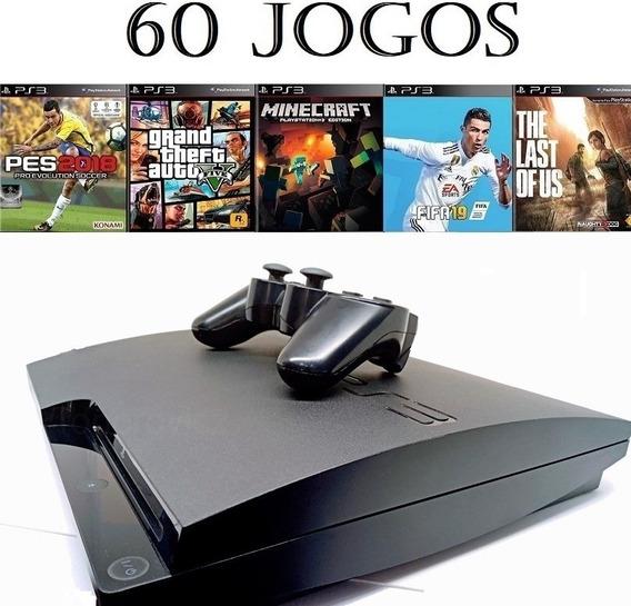 Playstation 3 Ps3 Slim + 60 Jogos + Frete Grátis + Sem Juros