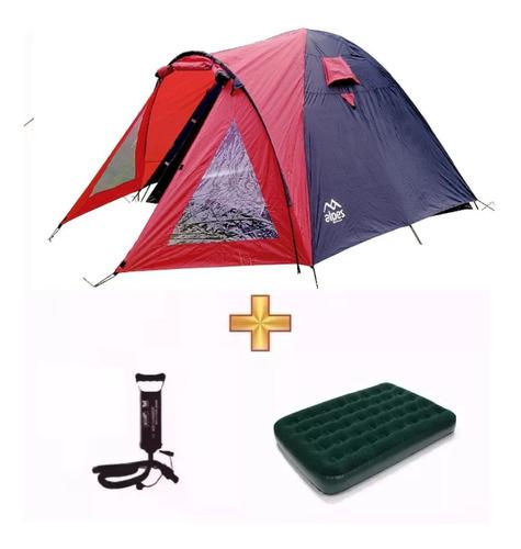 Combo Carpa Iglu 4pers Colchon 2plz+inflador Regalo Camping