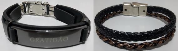 Kit Pulseira Couro Ecológico Masculina Bracelete Luxo