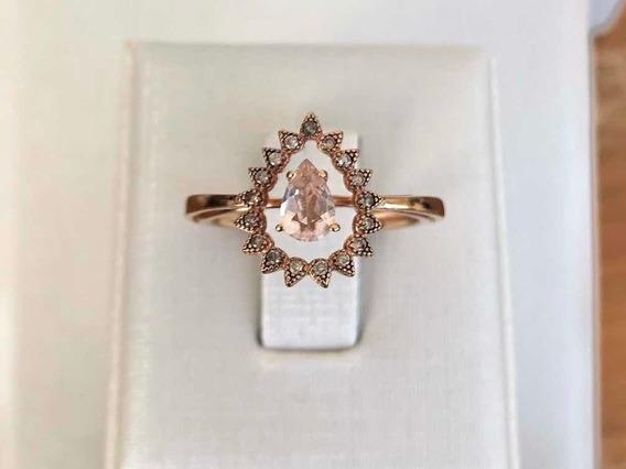 Anel Ouro Rose Diamantes E Quartzo Rosa Monte Carlo