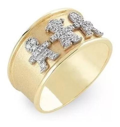 Anel De Ouro 18k/750 + 3 Pingente Menino E Menina + Diamante