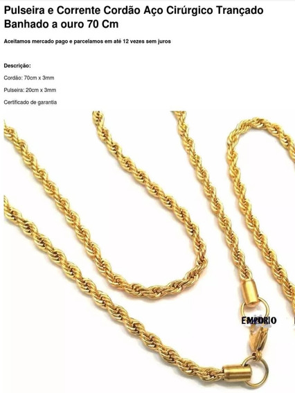 Cordão+ Pulseira Aço Cirúrgico Banhado A Ouro