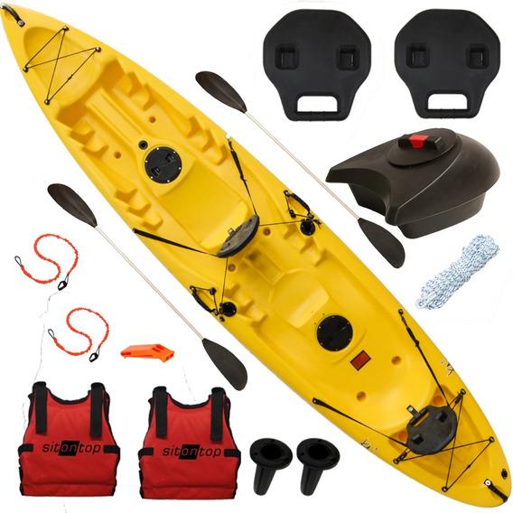 Kayak Doble Sitontop Kai3 Combo 2 + Cajón Respaldo Posacañas