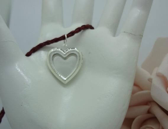 Cordão Tresse Coração Relicário P Foto Ou Aromaterapia Rl 42