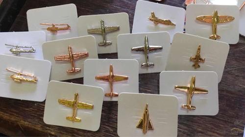 Pines Aviones Varios Metálicos Dorados Plateados Cobrizados