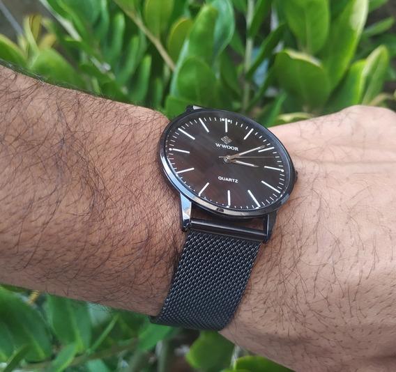 Relógio Masculino Social Original Aço Inox Fino + Brinde