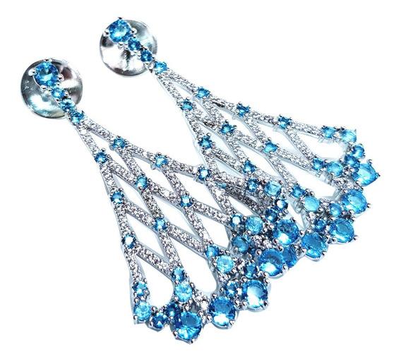 Brinco Feminino Pedra Zircônia Azul Semi Joia Folheado Ouro