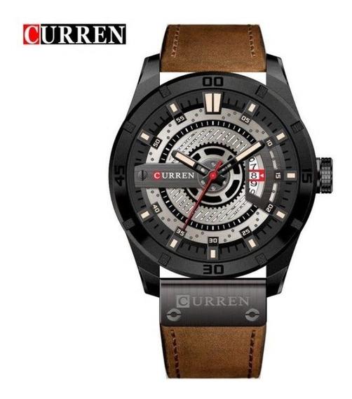 Relógio Curren 8301 Original Luxo Calendário Couro * Brinde*