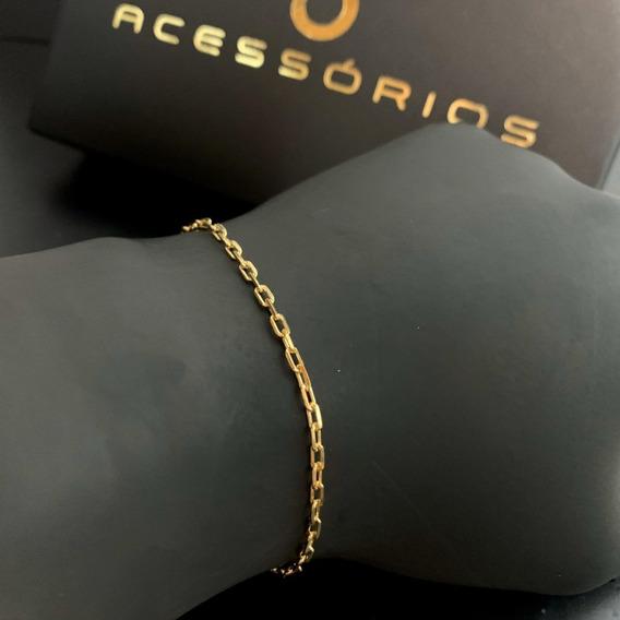 Pulseira Banhadas Ouro Puro 18k Cadeado 3mm Produto Original