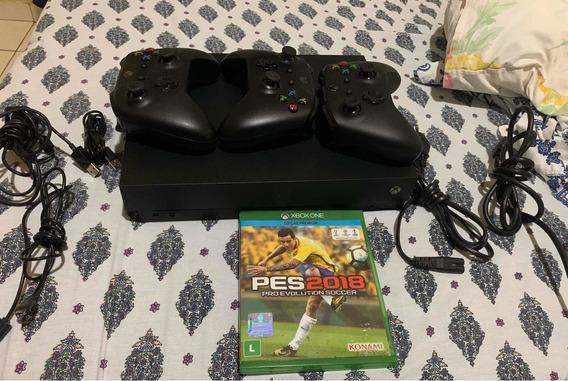 Xbox One X 1tb 4k + 3 Controles Sem Fio + Pes 2018.