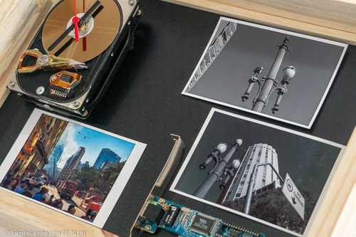 Relógio De Parede Porta Retrato Hdd Placa De Rede Reciclagem