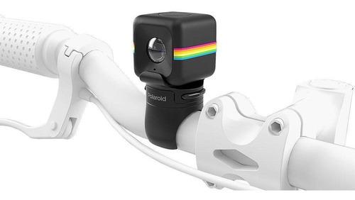 Câmera De Ação Full Hd Cube Polaroid Preta Suporte Bicicleta