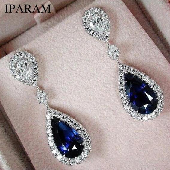 Brincos De Cristal2019 Azul Elegante Pingente Gotas De Água