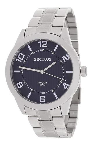 Relógio Seculus Masculino Prata 23495