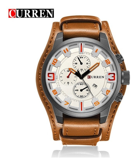 Relógio Masculino Casual De Luxo Curren 8225 Couro + Brinde