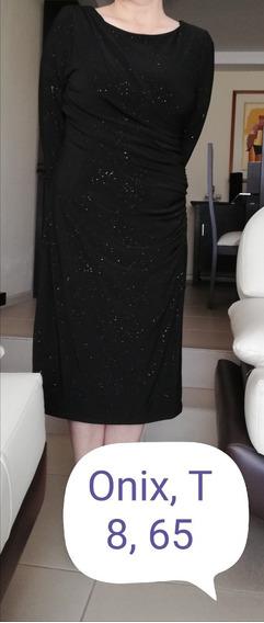 Vestido De Fiesta, Color Negro Con Brillos, Talla M (8-10).