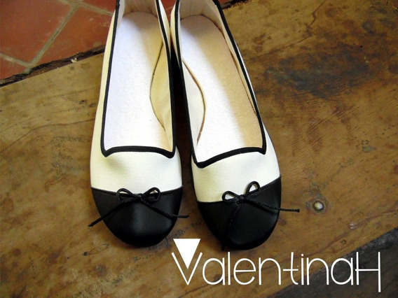 Chatitas Ballerinas Sleepers Blanco Negro Elegante Fiesta